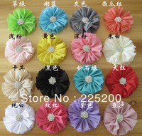 Free Shipping Vintage Chiffon Shabby Look Flowers with Diamond Flat Chiffon Flowers Hair Accessories DIY Headband Hairpins