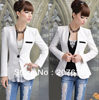 Korean New Women One Button White Collarless Tunic Suit Jacket Ladies OL Slim Blazer Coat Outerwear