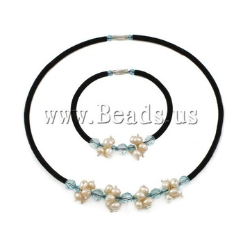 Free shipping!!!Natural Cultured Freshwater Pearl Jewelry Sets,Vintage, bracelet & necklace, with Wool cord & Crystal