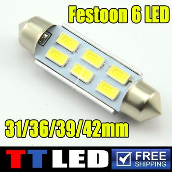 2X Festoon Dome 31mm 36mm 39mm 42mm 6 SMD 5630 LED Canbus No Error Car interior Reading License plate led bulb 12V White #TK21-1