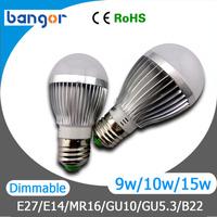 Free Shipping High Power AC85-265V Cree E27 9W/10W/12W/15W LED Bulb Light Gold/ Sliver Shell 4pcs/Lot Warn White / Cool white