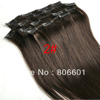 "15"" 18"" 20"" 22"" 24""26"" 28""Virgin Remy Hair Clip In Human Hair Extensions 7Pcs/Full Head Set Color #2 Darkest  brown"