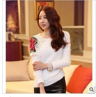 2013 new autumn winter fashion women rose fur sweater knit tops jersey sweaters female free shipping SZM6056