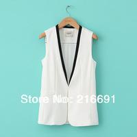 New fashion Europe women elegant white & black spliced waistcoat vest sleeveless casual slim coat OL style outwear #W709