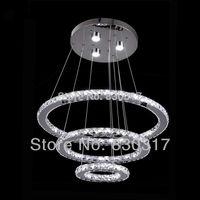 led modern crystal pendant light with remote control living room restaurant Hanging 3 Rings Samsung LED110-240V stainless steel