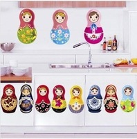 Free shipping  parlour bedroom decoration Sofa TV background can remove Wall sticker Russia Doll