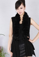 Spring and autumn women's elegant round ball women's mink sleeveless sweater women's cape sweater female