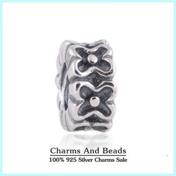 925 серебряный цветок Spacer очаровывает шарики с резьбой отверстия штамп S925 эля, подходит европейские браслеты...