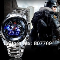 2014 TVG Stainless Steel Luxury Black Men's Clock Fashion Blue Binary Sports LED Watch 30AM Waterproof Watches Free shipping