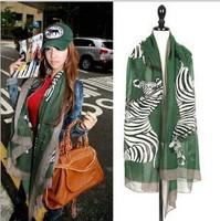 2013 fall new designer women's high fashion zabra scarf, Thin pashmina shawl, big size wild animal print wrap for lady