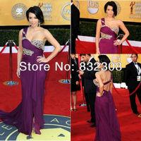 Customize One-Shoulder Sweetheart Neckline Pleated Silk Chiffon Kim Kardashian Dresses Celebrity Dresses