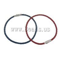 Free shipping!!!Leather Cord Bracelet,Wholesale Jewelry, brass magnetic clasp, mixed colors, 3mm, Length:Approx 8 Inch