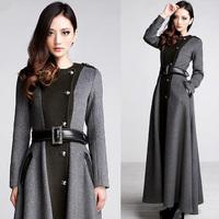Falll New Women's Fashion Wool coat  , Female Long  Patchwork Belt Woolen Overcoat , Winter Grey Cashmere Coats For Woman