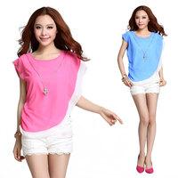 Fashion hit color stitching chiffon blouse 96033