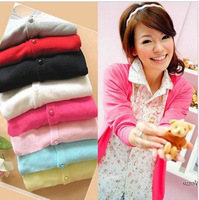 Free Shipping korea design Women's long sleeve v-neck cardigan lady's pearl button casual knitwear