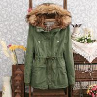 Free Shipping 2013 Winter Women's Wadded JacketTlarge Fur Collar Cotton Overcoat fFemale Epaulette Wadded Jacket Female