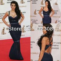 Customize Spaghetti Strap Sweetheart Neckline Sheath Pleated Kim Kardashian Dresses Red Carpet Dresses