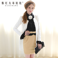 2013 autumn bodice ruffle  long-sleeve shirt 8.28