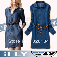 Free Shipping Women Dress 2013 New Spring Summer Autumn Fashion Brand Slim Long Sleeve Meryl Denim Dress With Belt Ladies Dress