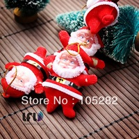 Freeshipping(21pcs/lot)Christmas tree pendant small christmas doll Santa Claus doll Christmas Decoration Supplies Baby'Xmas gift