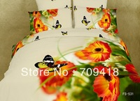 Hot Beautiful 100% Cotton 4pc Doona Duvet QUILT Cover Set bedding set Full / Queen/ King size 4pcs colorful butterfly flower
