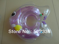 Free shipping purple fish shape PVC inflatable baby swimming aids neck floating ring