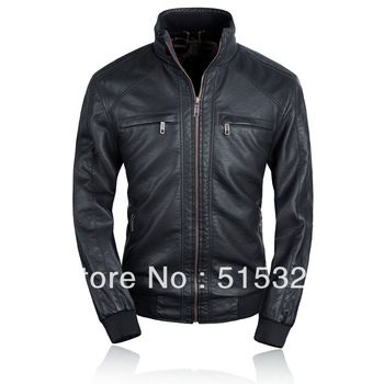 THOOO fashion high quality hot sale slim gentlemen pu faux leather jacket coat motorcycle black brown 7 sizes TM201309012