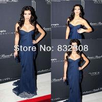 Customize Off The Shoulder Sweetheart Neckline Sheath Pleated Silk Chiffon Kim Kardashian Dresses Celebrity Red Carpet Dresses