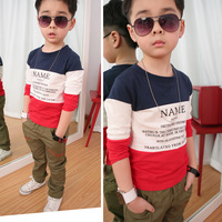 Retail 1 pcs children long-sleeve T-shirt  2013 spring autumn cotton baby boy basic shirt kids tops New High CC0556