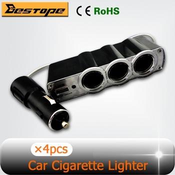 3 x USB Auto Car Cigarette Lighter Socket Splitter Plug Charger DC12V Adapter Accessory Free Shipping 4PCS/LOT