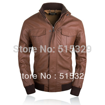 THOOO fashion high quality hot sale slim gentlemen pu faux leather jacket coat motorcycle black brown 7 sizes TM201309013