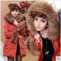 Free Shipping New 2013 Women Winter Coat Luxury Large Fur Collar Slim Medium-Long Thermal Down Coat Female
