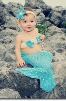 Beautiful Sky Blue Newborn Toddler Mermaid Baby Costume Knit Crochet Beanie Hats Clothes Photography Prop