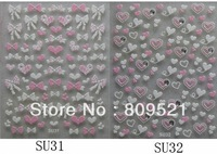 Nail Art Stickers 3D 6pcs Pink Sunflower Heart  Bow Water Decals Free shipping Wholesale Hot OSSU31-36