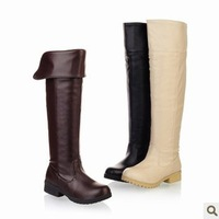 2013 free shipping autumn and winter boots two ways high-leg knee-length flat boots platform flat heel snow boots