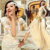 vestido de noiva 2014   fashionable Royal princess plus size half sleeve fish tail train mermaid lace style      wedding dress