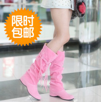 Hot-selling high-leg elevator boots female spring and autumn 2013 tassel boots single boots beige
