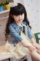 new spring baby girls fashion lace denim jacket / coat children outwear clothes