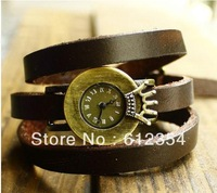 New Coming Women Fashion Wrist Quartz Watch Leather Chian Roman Numerals Imperial Crown Design Watches Free Shipping