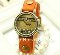 100pcs 2013 new wholesale leather bracelet ladies vintage wrist quartz watch,5 colour Mori Girl watch,Free shipping