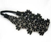 2013 new wholesale Lace floral daisy flower black fashion star design elastic headbands hair accessories 12pcs/lot