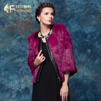 2013 winter o-neck full leather rabbit fur short design three quarter sleeve fur coat female