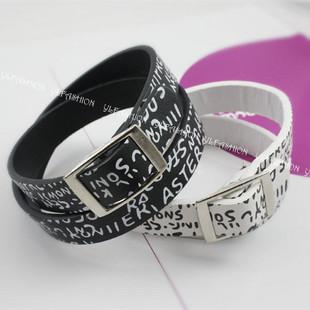 Min order $15 Fashon Accessories personality unique print letter PU strap  bracelet punk