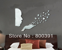 Free shipping (1 set) new arrival girl blowing,  3D Sofa background wall mirror wall stickers mirror  Bedroom mirror stickers