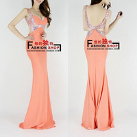 Fashion paillette 2013 V-neck racerback bride evening dress banquet long design evening dress one-piece dress h0506
