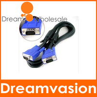 10Pcs/Lot New utlet Blue 1.5M VGA/SVGA M_M Cable HD15PIN Male to Male Extension Monitor Cable Free Shipping+Wholesale