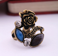 free shipping hot sales vintage antique gold plated letter rose flower punk female ring Europe American style women jewelry
