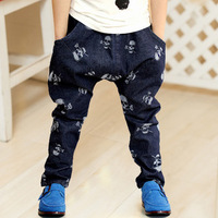 Autumn Korean Style Boy's Printed Knitted Cotton Long Jeans Trousers Free Shipping BC012
