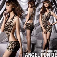 Sexy Women's Leopard Print Lingerie Underwear Panther Print Sleep Wear Mini Dress Free Shipping
