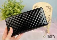 Small fine plaid jelly color japanned leather candy color plaid women's wallet long design big zipper pendant wallet